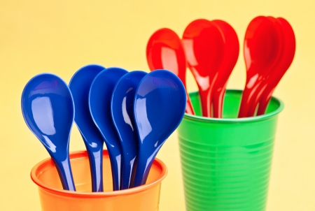 spoons and cups recyclable, colorful photo