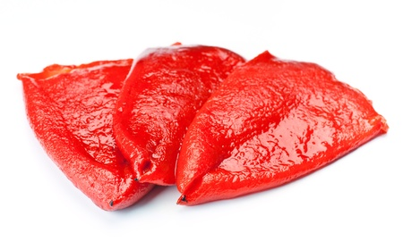 red peppers, roasted and peeled, isolated on white
