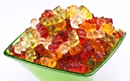 Jellies shaped bear, in a green bowl Stock Photo - 17549735