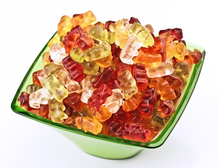 Jellies shaped bear, in a green bowl Stock Photo - 17549733