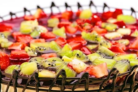 fruit cake decorated with chocolate photo