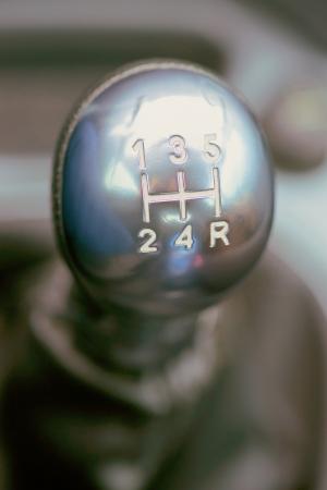 palanca de cambios: shifter plata utilizada con letras blancas Foto de archivo