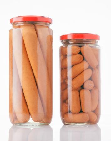 frankfurters: frankfurters preserved in glass jar Stock Photo