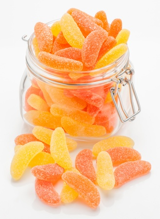 sugary: sugary gummy orange and lemon in glass jar
