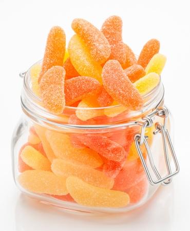 gummie: sugary gummy orange and lemon in glass jar