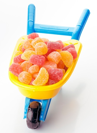 sugary: toy wheelbarrow full of sugary jellies
