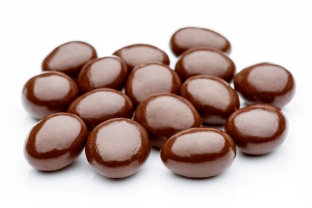 many shiny balls of dark chocolate