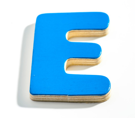 Wooden Letter E Blue, shaded on white base photo