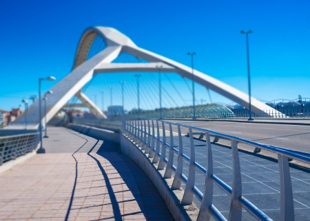futuristic bridge in a European city Stock Photo