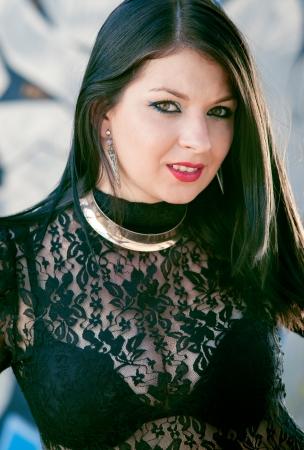 pretty girl in black sexy clothes