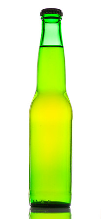 green beer bottle: Green beer bottle with white background