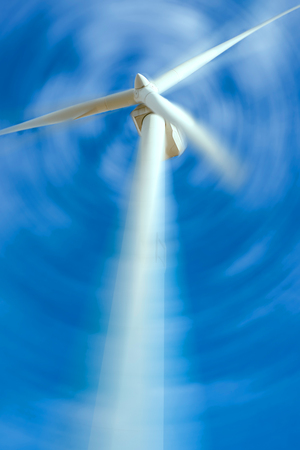 rotates: wind generator rotates with the sky background Stock Photo