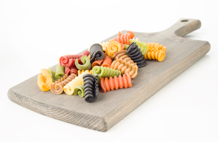 flavors: seven flavors of Italian pasta on white background