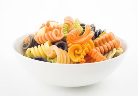 flavors: Italian pasta bowl seven flavors, on white background
