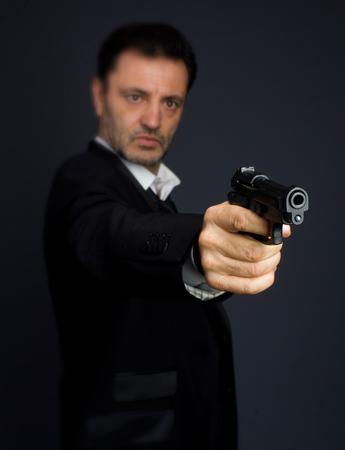 Gunman costume, police or criminal Stock Photo