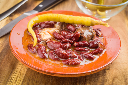 homemade red bean dish with peppers
