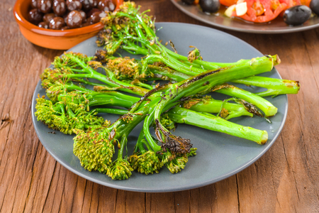 tender: dish with tender shoots of broccoli grilled