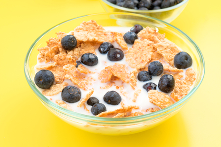thinness: small bowl of cereal and other berries on yellow background