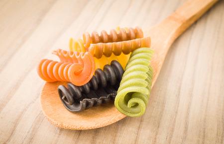 flavors: Italian pasta seven flavors on wooden base