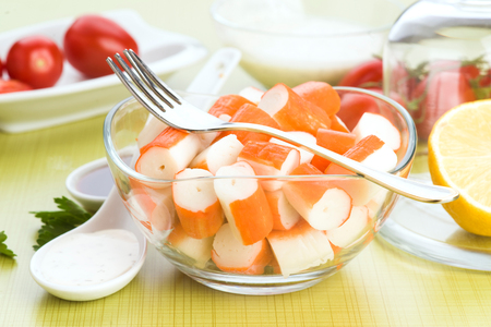cut glass: crab sticks cut glass bowl with fork