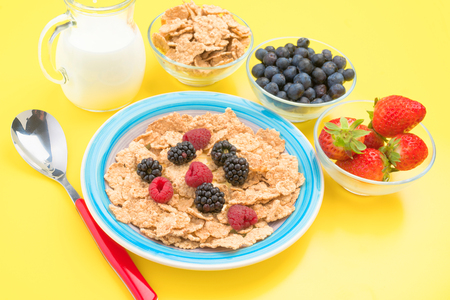 thinness: colorful plate with raspberries blackberries cereal and milk in yellow background