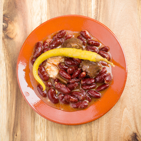 intense flavor: homemade red bean dish with peppers