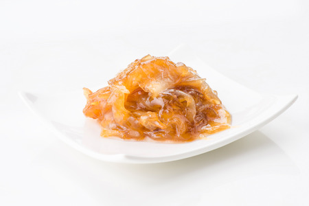 lunch tray: caramelized onions on white background Stock Photo