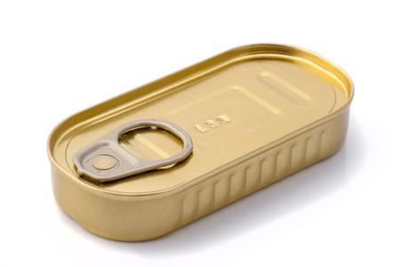 tin: closed metallic tin Stock Photo