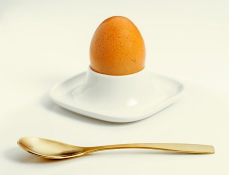 eggcup: boiled egg with spoon