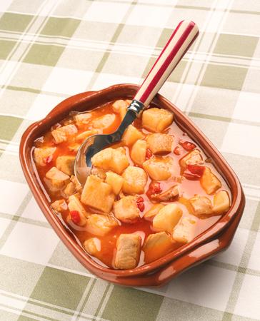 potato cod: potato stew with cod earthenware dish