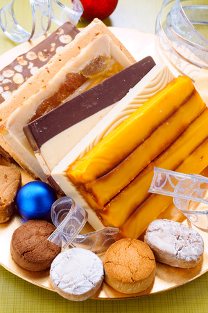 shortbread: shortbread and nougat tray with christmas ornaments Stock Photo