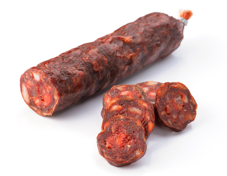 iberian: Iberian sausage cut isolated on white