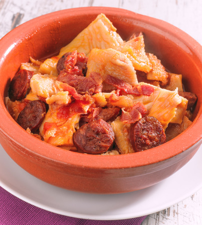tripe: spanish callos, a stew with beef tripe, chickpeas and chorizo Stock Photo