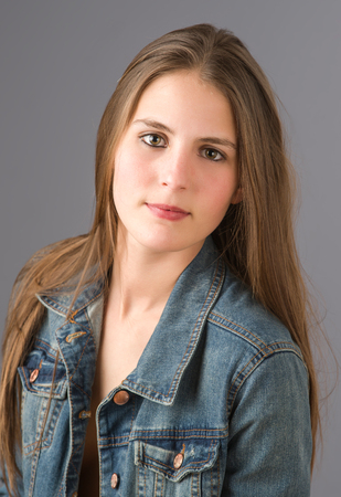 portrait young woman with jean jacket Stock Photo