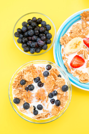 thinness: zenithal making small bowl of cereal and other blueberries, on yellow background
