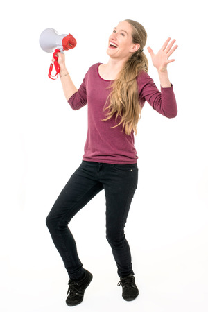 expressive girl with speaker; on white background continuous