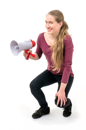 spontaneous expression: expressive girl with speaker; on white background continuous