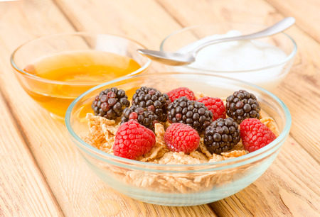 cereal bowl: breakfast cereal bowl with berries and yogurt, on natural wood