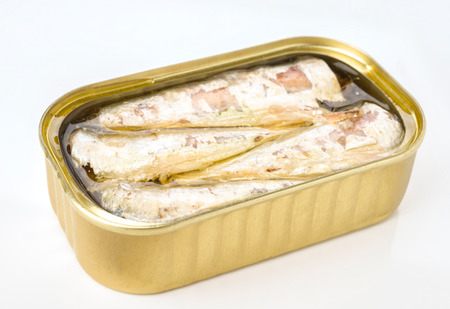 macerated: Marinated sardine tin in canned
