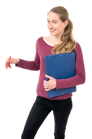 spontaneous expression: young school girl with  folder; on white background continuous Stock Photo
