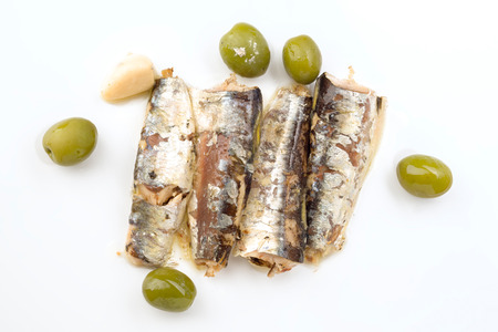 macerated: sardines marinated in olive oil directly on white background Stock Photo
