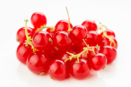 heap of ripe red currants on white Stock Photo