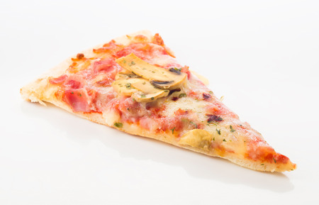 ration: slice of pizza with mushrooms isolated