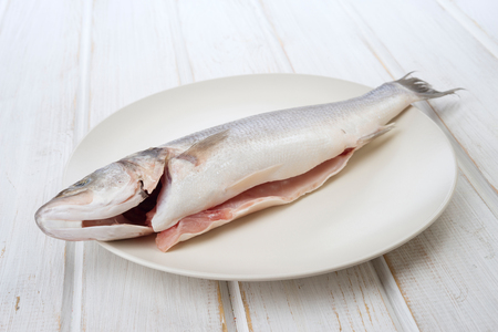 seabass: seabass cut, ready to be roasted isolated