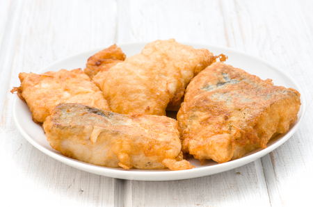 hake: pieces of hake breaded fried egg
