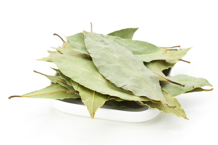 group of dried bay leaves, isolated on white Stock Photo