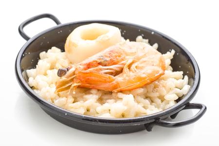 ration: Spanish paella ration isolated on white