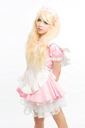 medium body: maid manga gesticulating in the studio, on white background Stock Photo