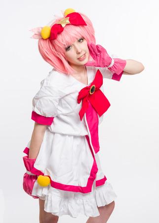 colourful tie: Manga girl on white background