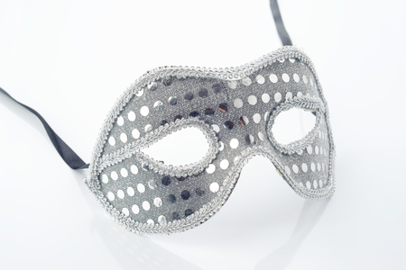 silver carnival mask isolated on white